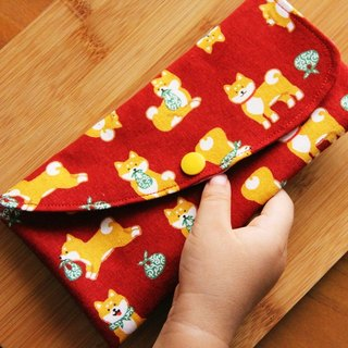 2018 Puppy Shiba Inu red envelope bag - hand made red envelope bag wedding cloth red envelope bag horizontal red envelope bag cute storage bag sanitary napkin storage bag