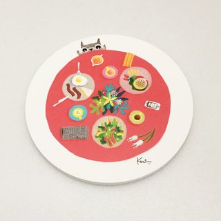 Old Lady and nutritious breakfast Keke ceramic absorbent coasters / old lady