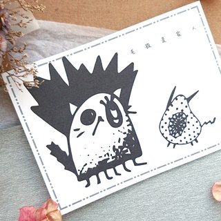 ◆ cat monster postcard - black and white line engage 2 ◆