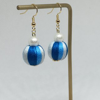 Blue Colour Embroidery Beads Earrings
