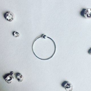 Minimalism circle .925 silver earrings_single earring for sale