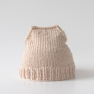 OTB101 Ladder Hand-knitted Cap - Light Khaki (White)