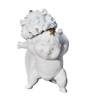Handmade Porcelain sculpture- Angel and Star Signs-Leo