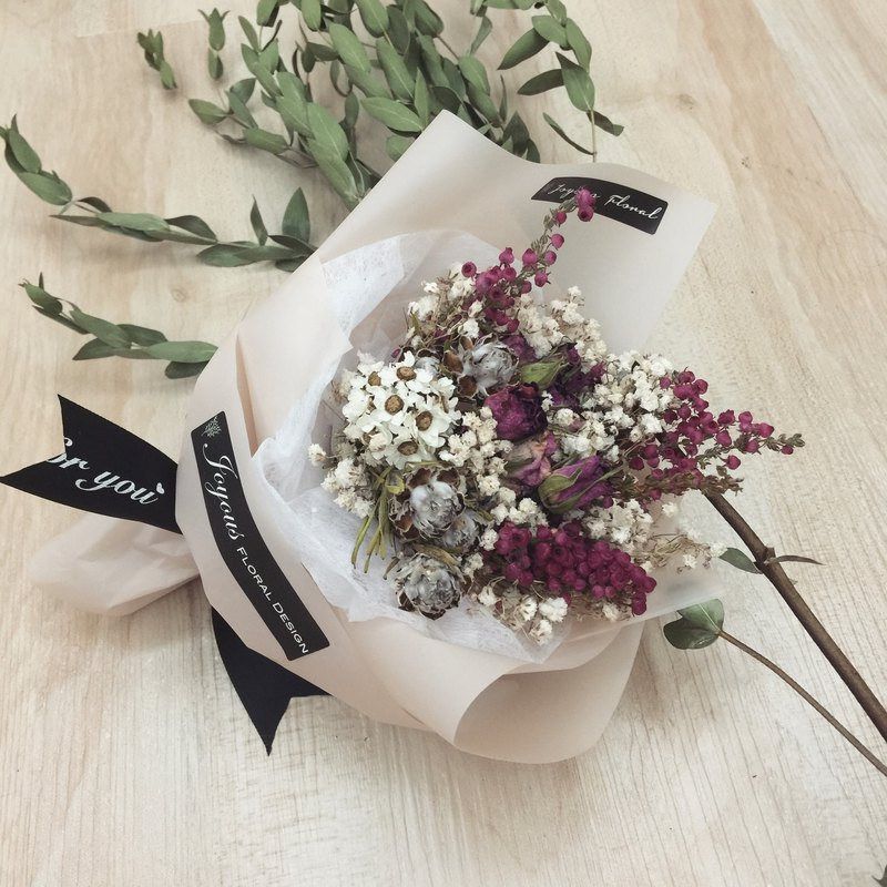 Pink Romantic Poems Dried Bouquet Hand Made Small Flower Valentines Gift Birthday Ceremony Sisters