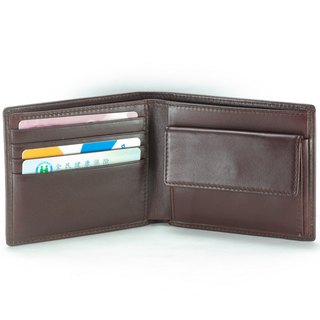 Yasuda male short clip leather wallet 4 card change bag brown pay customized lettering service