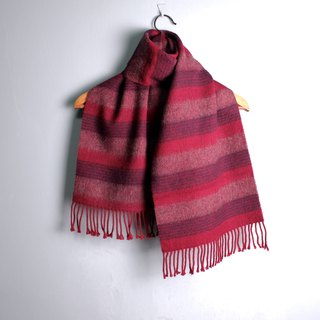 FOAK vintage wine red striped soft double-sided scarf