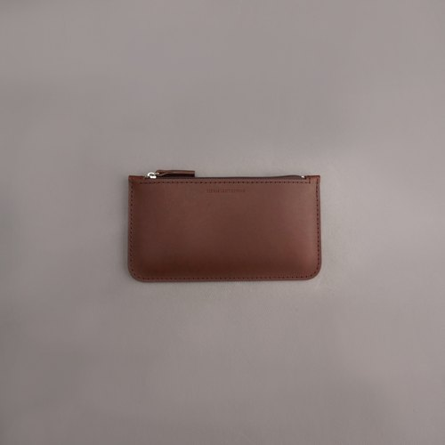 Flat long wallet leather wallet wallet / brown vegetable tanned leather / handmade leather goods