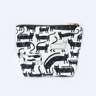 小钱包 Many Many Cat Coin Purse Cute Small Zipper Pouch- Black White
