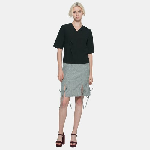 Waist Tuck Textured Shirt (Black)