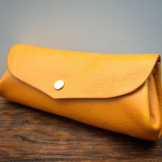 Leather Wallet Italian Natural Tanned Leather Long Pouch Fave Mimosa