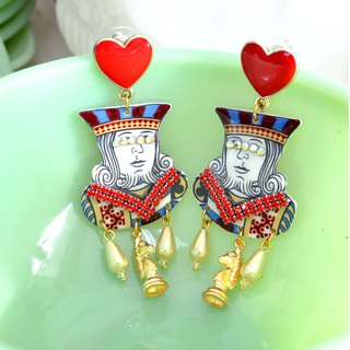 Red Heart Parker Emperor Crystal Charm Earrings KING EARRINGS