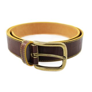FULLGRAIN Ö ITALY PLASTIC GARMENTS MALE Crocodile Pattern Belt Coffee Yellow Suture