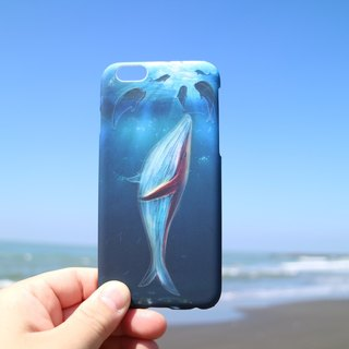 Whale light / hand-painted / mobile phone shell / water paste / hard shell / Iphone6 ​​(plus), 6s (plus), 7,7Plus