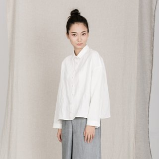 BUFU Linen jacquard ovesized shirt in white SH161016