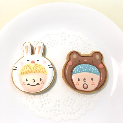 Rabbit Bao and Xiong Zi friends icing cookies small gift box