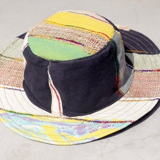 Ethnic hand-woven stitching cotton cap / knitted hat / hat / wool cap - yellow rendered + hand-woven cotton (limit one)