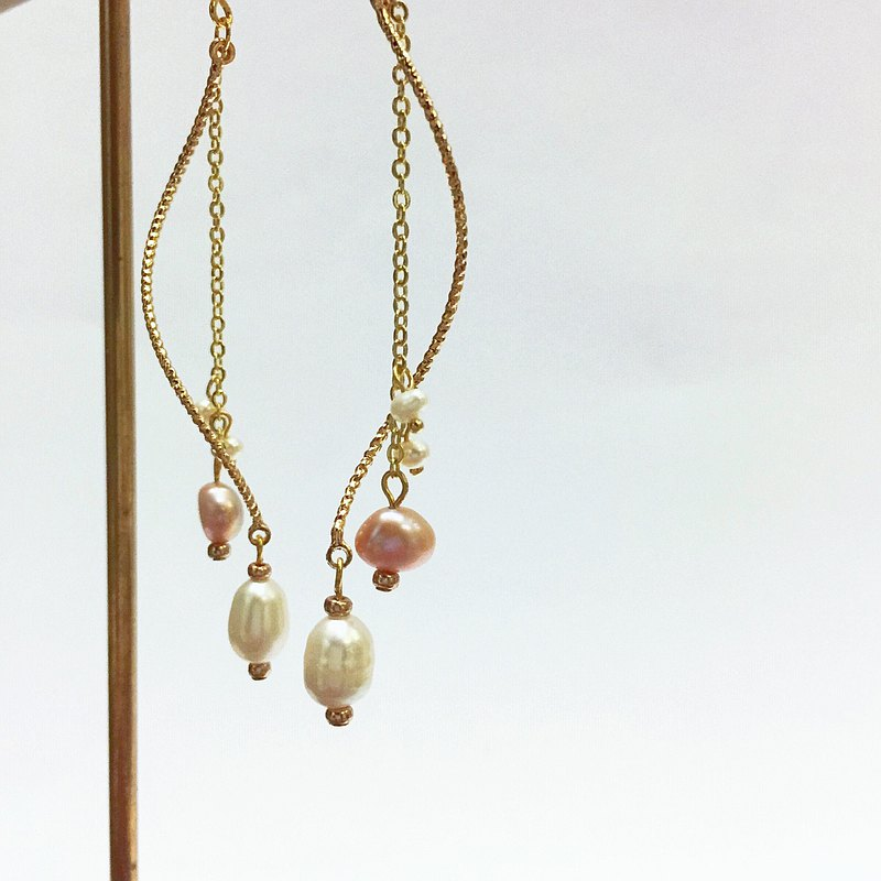 14K包金 天然粉色淡水珍珠螺旋耳環 耳夾 夾式耳環 14KGF