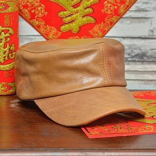 MAJORLIN leather military cap camel vintage oil wax skin the most valuable Father's Day gift