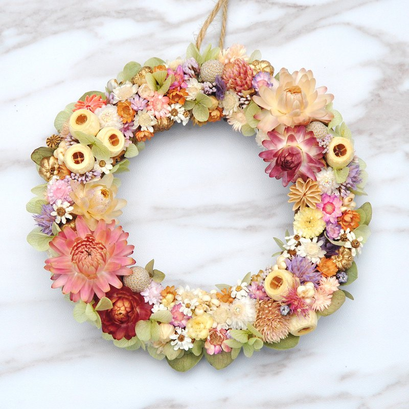 Dry Small Wreath Spring Day Colorful Banquet Wreath Dry Wreath