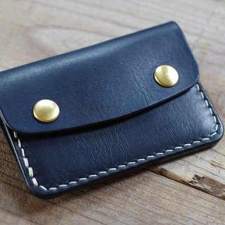 Handmade Nume leather card case navy blue