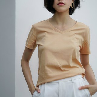 Commemorative version of the fresh 芋仙芋 | Pumpkin 芋 round goose yellow senior mercerized cotton T-shirt five colors optional V-neck round neck plain short-sleeved cotton Slim classic Tee Spring and summer basic models women Basic Basic wardrobe necessary |