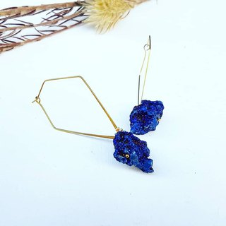Copper hand made _ Bao blue quartz stone crystal geometry copper earrings