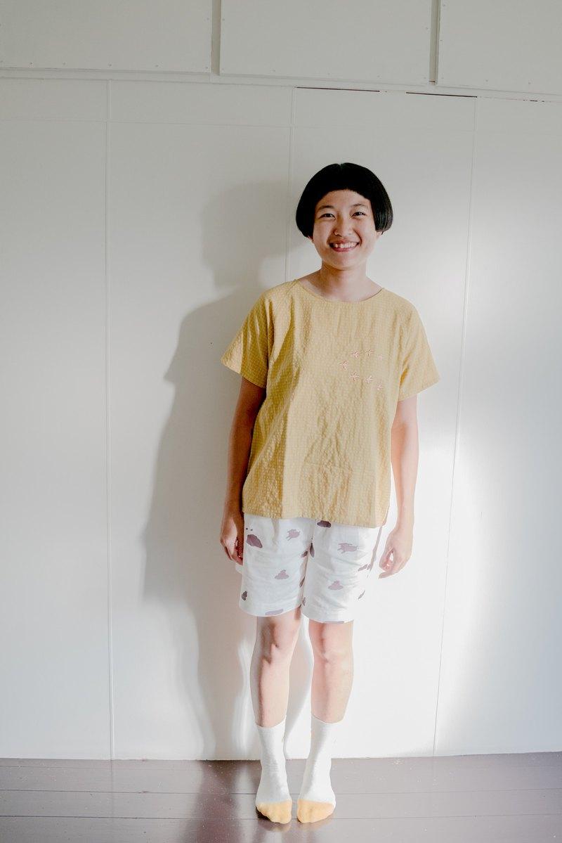 飛鳥 - 黃格子平織上衣