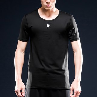 AquaTouch InstaDRY Men's 1/4 Sleeve Low Neck Slim Fit Training T - Black