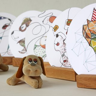 POST CARD - Series of DOGGIE - hand drawn original in round shape
