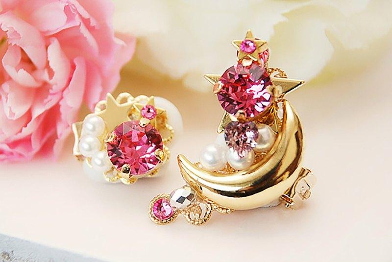 在愛的桃紅色行星耳環