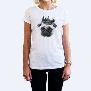 Notorious PUG men and women short-sleeved T-shirt white barbarian dog French dog animal pussy