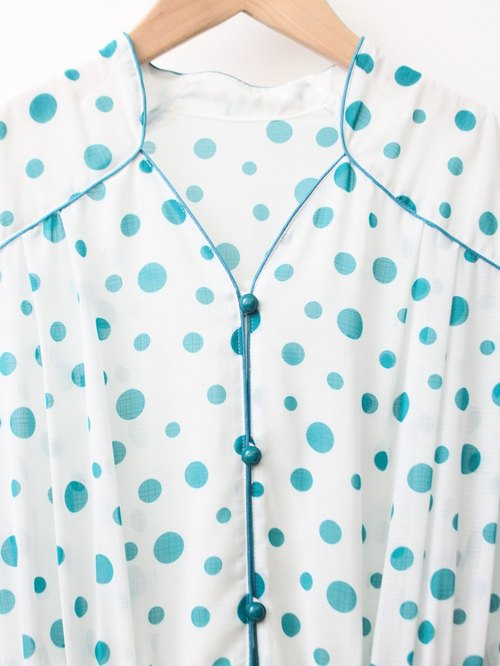 【RE1004D1390】 early autumn Japanese retro sweet soda petals dot white short-sleeved ancient dress
