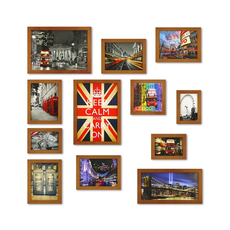 HomePlus Photoframe Brown 12PCS City Decor Loft
