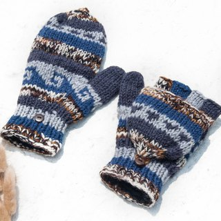Hand-knitted pure wool knit gloves / detachable gloves / inner bristled gloves / warm gloves - gradient waves