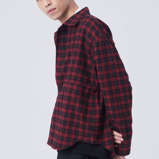 Mixed woven cotton plaid shirt #9201