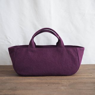 Round tote with lid Yokonaka Purple