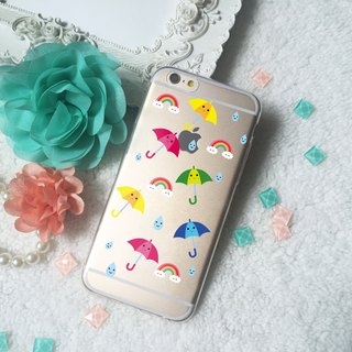 Raindrop Rainbow Umbrella Clear TPU Phone Case iphone X 8 8+  7  7+ S9 S8 plus