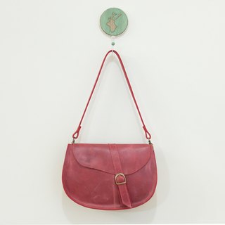 Plum red leather cowhide with saddle bag deep plum red / red dates can be slanted back