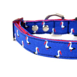 Royal Blue Pelican small dog collar S size silver