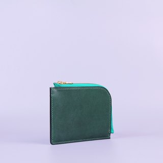 Hand Sewn L Wallet_Green/L Shaped Wallet_Green