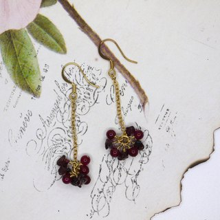 January birthday  garmet earrings ear clip