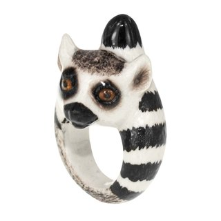 Porcelain lemur Ring (Size M) animal cute handmade Christmas gift France