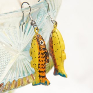 Valentine's Day gift hand-painted wooden earrings limited edition / wooden earrings / Animal earrings - leisurely yellow fish (Ear / ear clip)