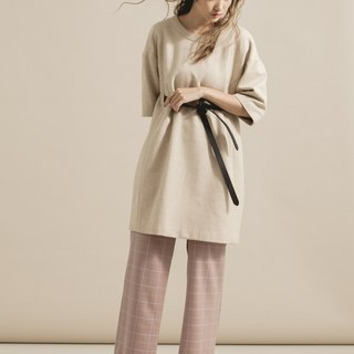 Shoulder Wool Dress - with leather belt