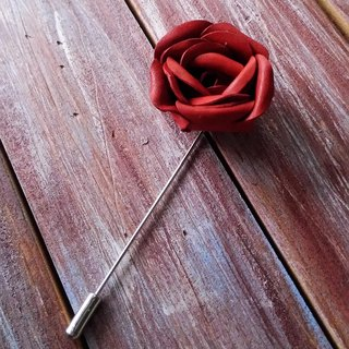 Handmade paper flower corsage of red roses made of leather handmade leather Kai