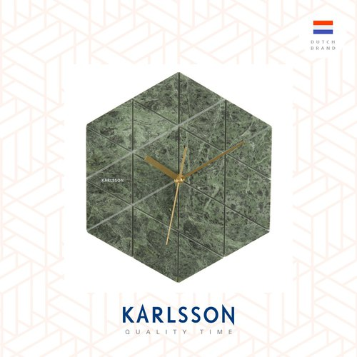 Karlsson, Wall clock Marble Hexagon green 真.雲石掛鐘綠色