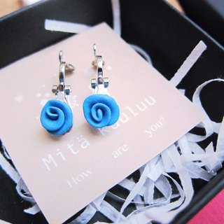 Blue Rose earrings (clip-on)