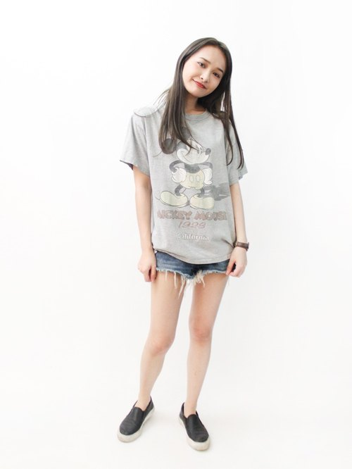 【RE0819S14】 summer American American Disney cartoon neutral loose ancient cotton college T shirt