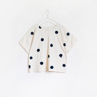 polka dot cat crop t-shirt : natural