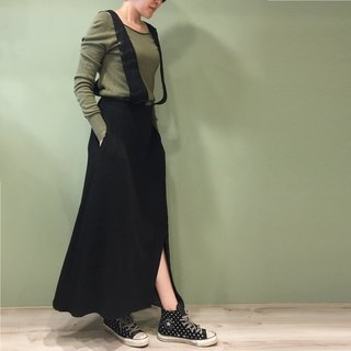 [Skirt] Stitching splint splint dress _ black